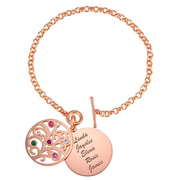 Picture of Engraved Family Tree Birthstone Bracelet Sterling Silver