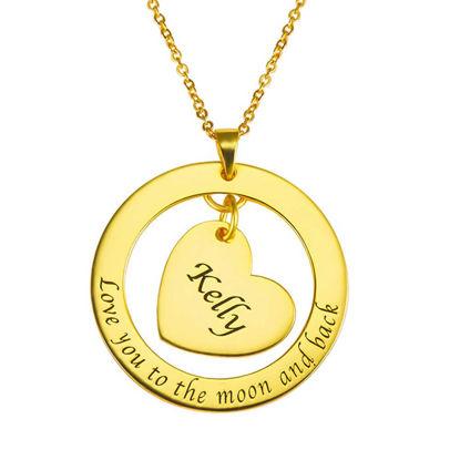 Image de Collier avec Pendentif Coeur à l'intérieur d'un Cercle Personnalisé en Argent Sterling 925