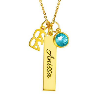 Picture of Graduation Charms Vertical Bar Necklace