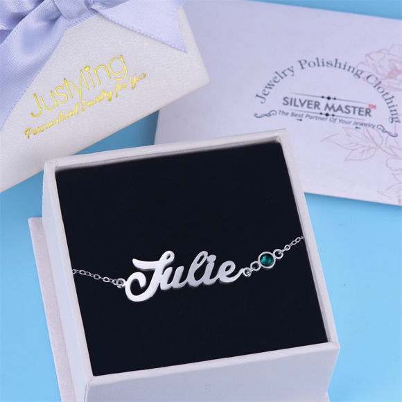 Picture of 925 Sterling Silver Personalized Name Bracelet In Birthstone