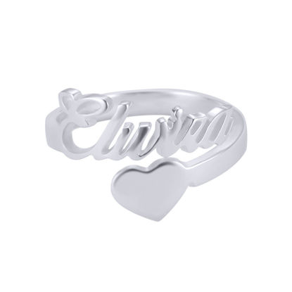 Picture of Personalized Ring in 925 Sterling Silver - Custom Nameplate with Heart Ring