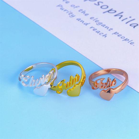 Immagine di Anello personalizzato in argento sterling 925 - Targhetta personalizzata con anello a cuore