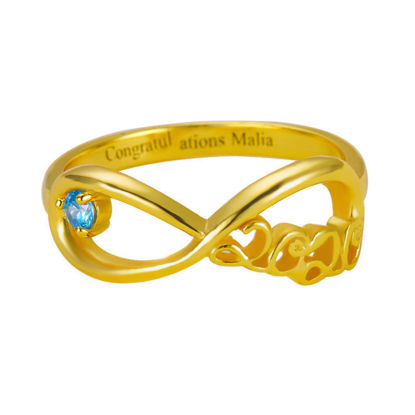 Picture of Infinity Ring with Graduation Year & Birthstone