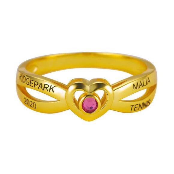 Bild von Damen Sterling Silber Cross Over Herz Klasse Ring