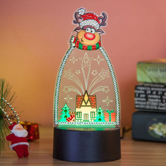Picture of Christmas Theme 3D LED Night Light Decorated With Diamonds