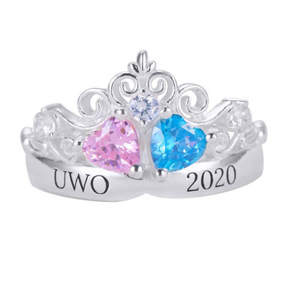 Picture of Engravable Double Heart Gemstone Tiara Graduation Ring with Accents