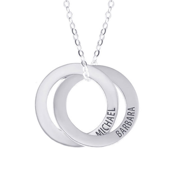 Picture of Personalized Double Russian Ring Name Necklace In Sterling Silver