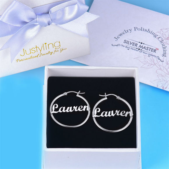 Picture of Personalized Name Earrings Unique Gift in 925 Silver