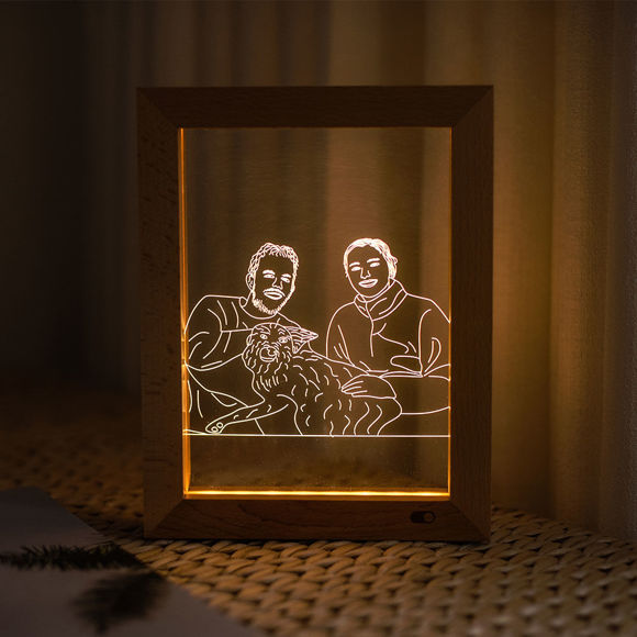 Picture of Custom Wooden Photo Frame LED Night Lamp - Personalize With Your Lovely Photo