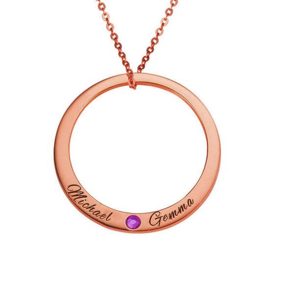 Image de Collier Big Circle avec deux noms et une pierre de naissance en argent sterling 925