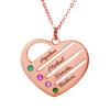 Imagen de Collar con nombre de familia de piedra de nacimiento de corazón grabado