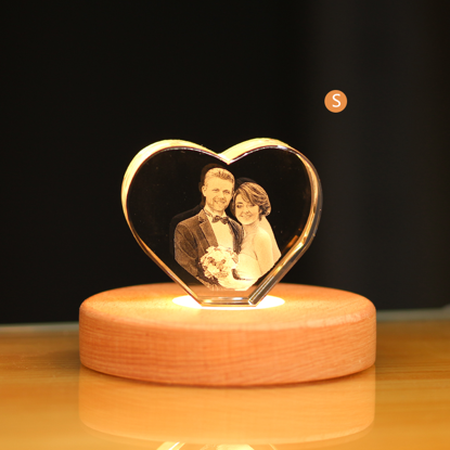Immagine di 3d Laser Crystal Gift in Heart