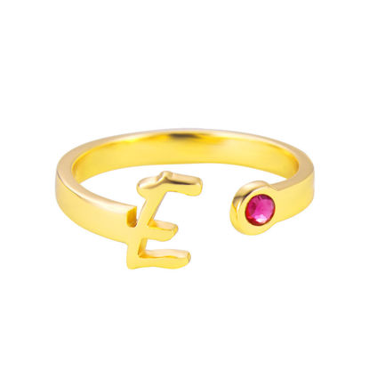 Picture of 925 Sterling Silver Initial Open Ring with Birthstone