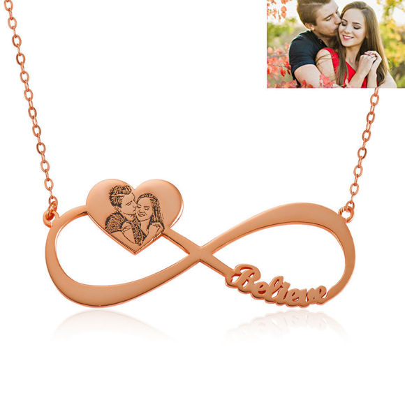 Picture of Engraved Heart Pendant Photo Infinity  Name Necklace in 925 Sterling Silver