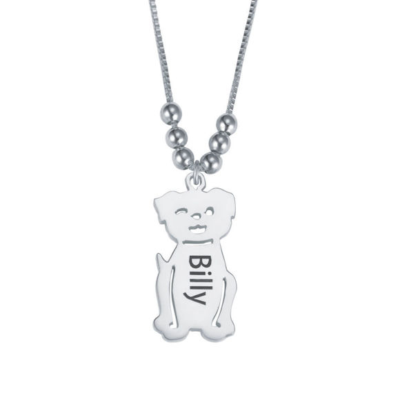Immagine di Ciondolo inciso con collana cane in argento sterling 925