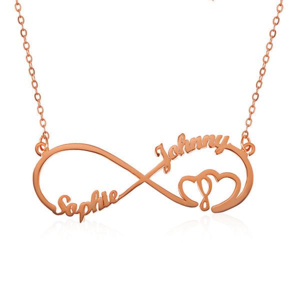 Imagen de Infinito Corazón En Corazón 2 Nombres Collar Sterling