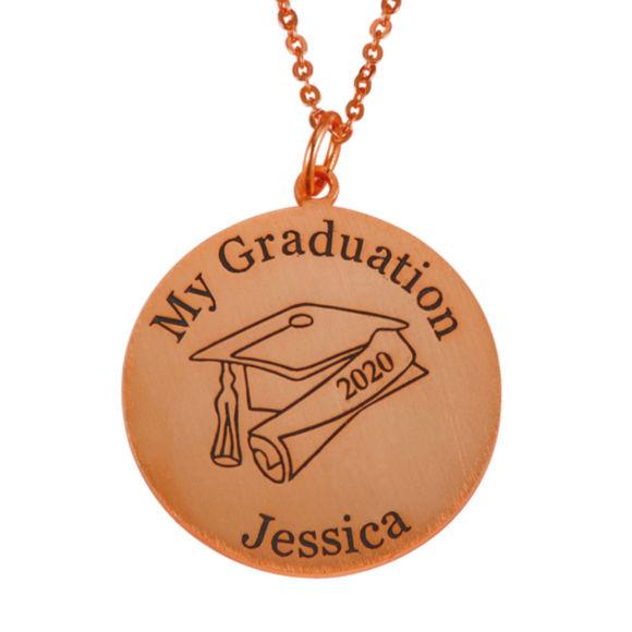 Image de Nom de graduation en argent sterling avec pendentif disque à capuchon grad