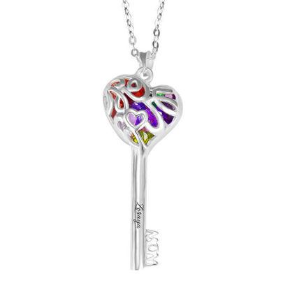 Immagine di Collana chiave mamme con gabbia a cuore con pietre preziose in argento sterling 925