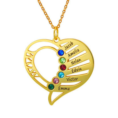 Immagine di Engraved Family Members Birthstone Necklace in 925 Sterling Silver