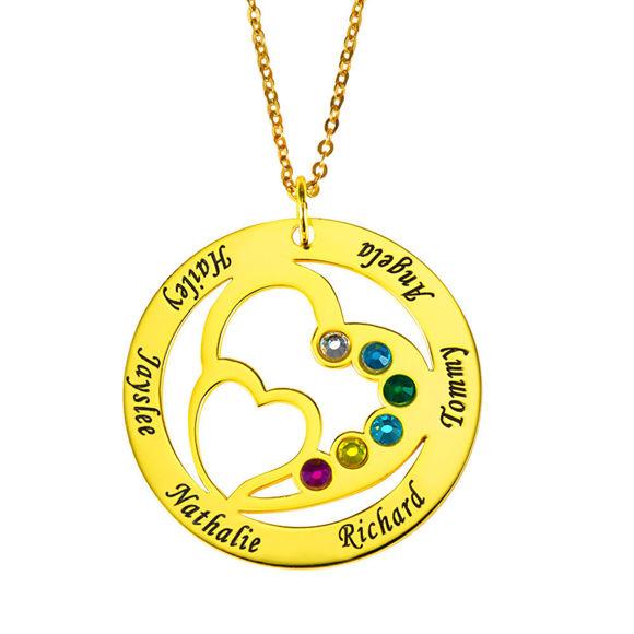Immagine di Collana personalizzata con nome Birthstone Heart in Heart in argento sterling 925