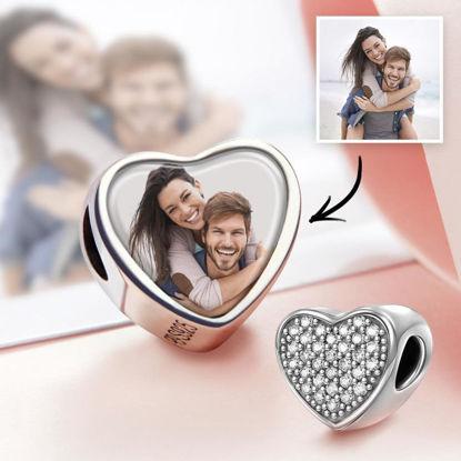 Immagine di Ciondolo con foto a forma di cuore con pavé di CZ in argento sterling 925