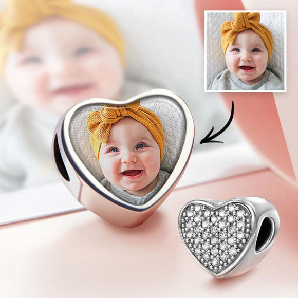 Immagine di Pave CZ Baby Heart Photo Charm in argento sterling 925