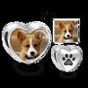 Immagine di Charm per animali domestici con foto a forma di cuore con stampa a zampa in argento sterling 925
