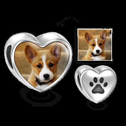 Image de Charm en forme de coeur avec photo pour animal de compagnie en argent sterling 925