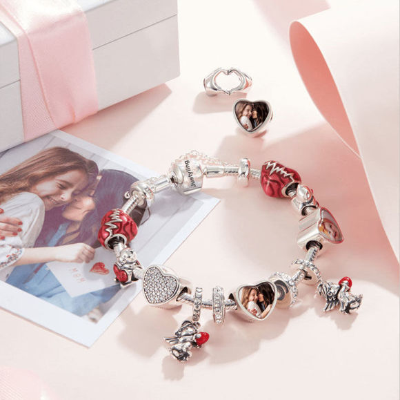 Immagine di Infinity Love Heart Photo Charm in argento sterling 925