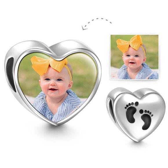 Immagine di Charm con foto a forma di cuore in argento sterling 925