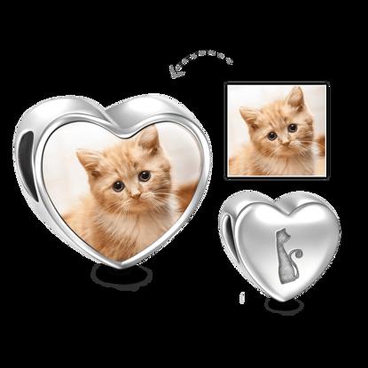 Immagine di Ciondolo con foto a forma di cuore di gatto domestico in argento sterling 925