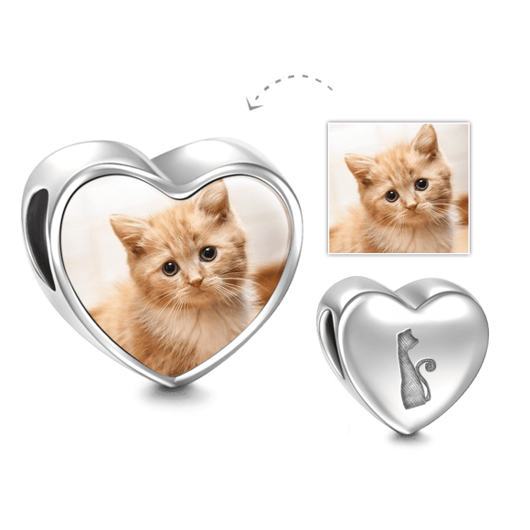 Picture of Pet Cat Heart Photo Charm in 925 Sterling Silver