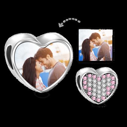 Immagine di Ciondolo con foto a forma di cuore in cristallo rosa in argento sterling 925