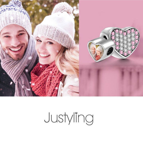 Picture of Pave Pink Crystal Heart Photo Charm  in 925 Sterling Silver