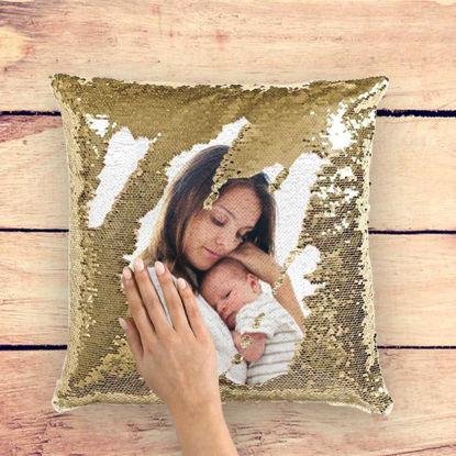 Immagine di Cuscino con paillettes personalizzato con foto magiche - Idea regalo brillante