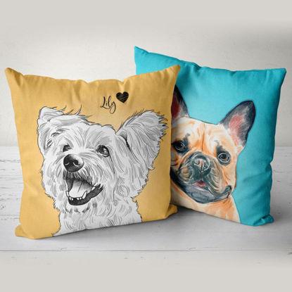 Image de Coussin pour animaux de compagnie Portrait personnalisé avec illustration pour votre adorable animal de compagnie - PRODUIT PREMIUM