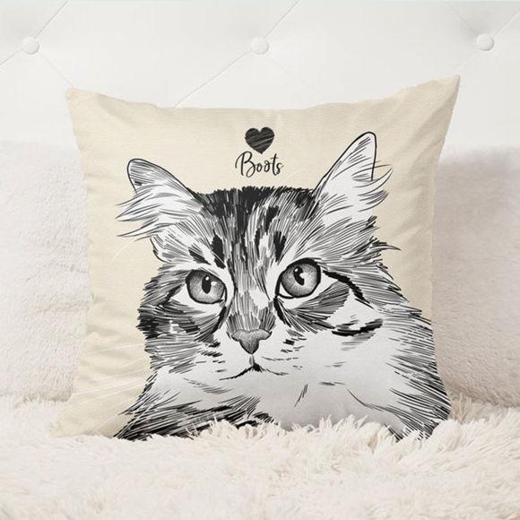 Immagine di Cuscino per animali domestici con ritratto personalizzato con illustrazione per il tuo adorabile animale domestico - PRODOTTO PREMIUM