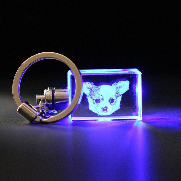 Immagine di Regalo in cristallo laser 3D in orizzontale (linea retta)