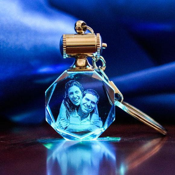 Immagine di Portachiavi personalizzato con foto in cristallo 2D o 3D in ottagono