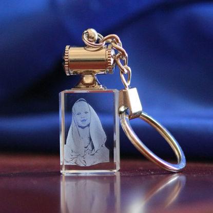 Immagine di Portachiavi personalizzato con foto in cristallo 2D o 3D in rettangolo