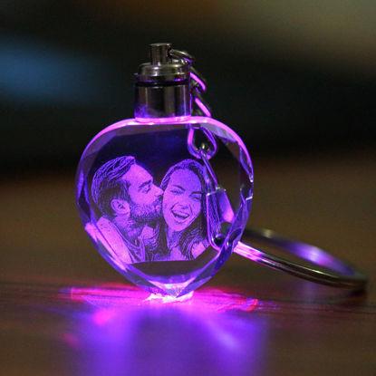 Immagine di Portachiavi personalizzato con foto in cristallo 2D o 3D in cuore