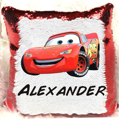 Picture of Magic Cartoon Photo Sequin Pillow With Personalized Name in Various Styles