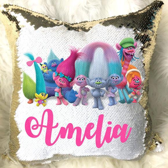 Immagine di Cuscino di paillettes con foto di cartoni animati magici con nome personalizzato in vari stili