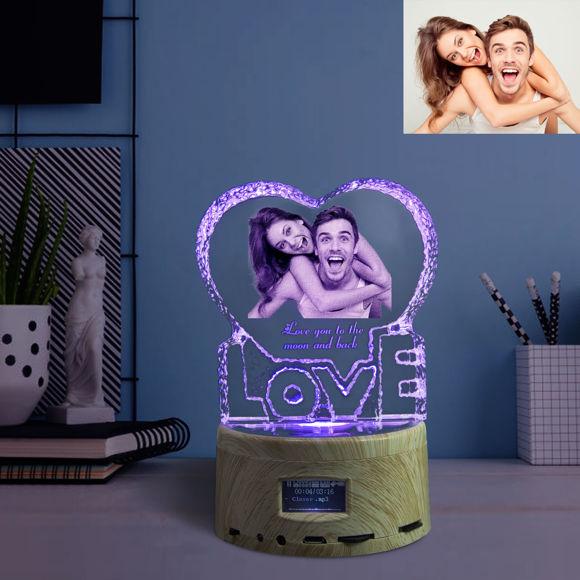 Immagine di Regalo in cristallo laser 2D per amore con base luminosa per carillon Bluetooth