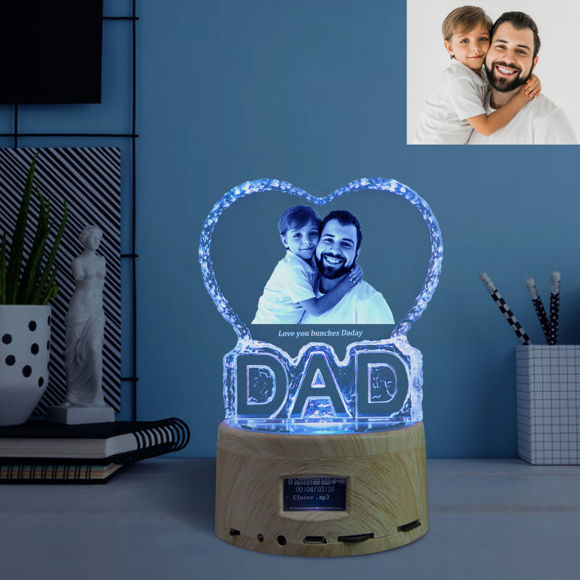 Picture of 2D Laser Crystal Gift For Dad With Bluetooth Music Box Light Base