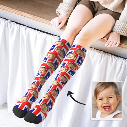 Immagine di Calze stampate personalizzate al ginocchio con bandiera AU