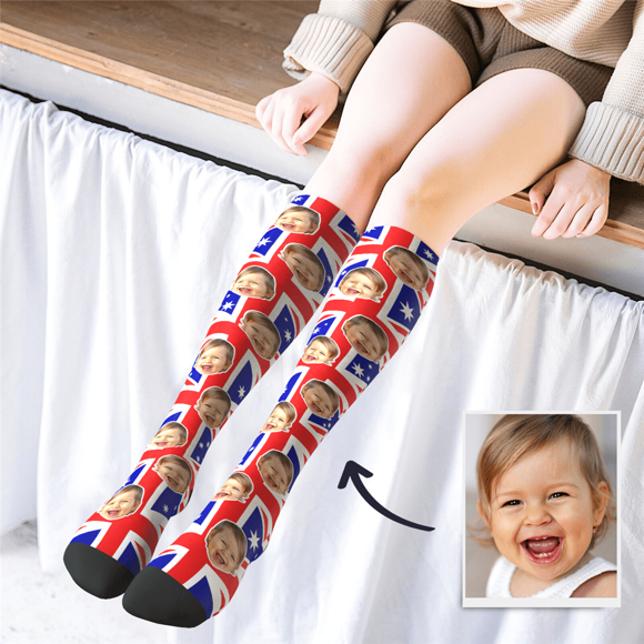 Picture of Personalized Knee High Printed Socks with AU Flag