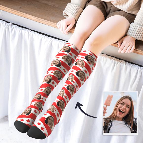 Immagine di Calze stampate personalizzate al ginocchio con bandiera del Canada