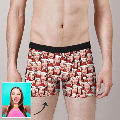 Immagine di Pantaloncini boxer personalizzati con cappello di Natale per regali