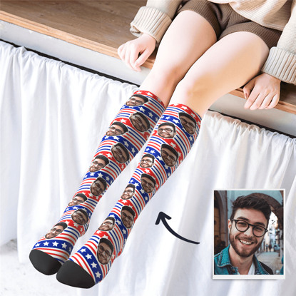 Immagine di Calze stampate personalizzate al ginocchio con bandiera degli Stati Uniti